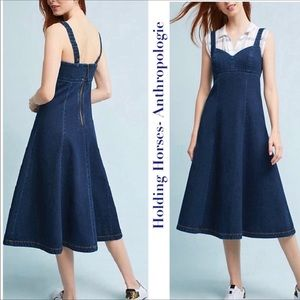 Holding Horses Anthropologie Denim Midi Dress
